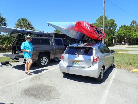 Two kayaks on our car.