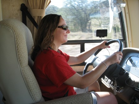 Adrianne driving the RV