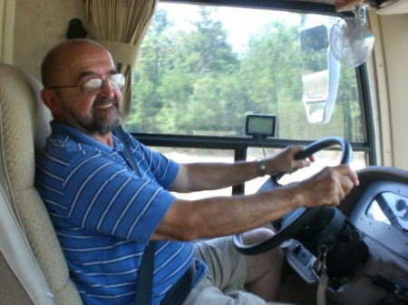 Dad driving the RV