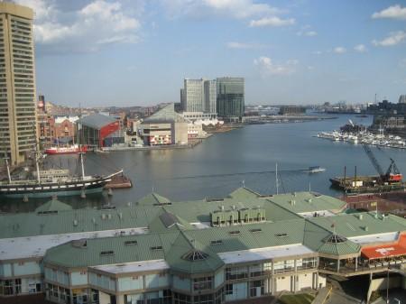 Baltimore's Inner Harbor from the top of the Hyatt hotel