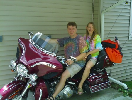 Trav & Emmy on Ralph's Harley